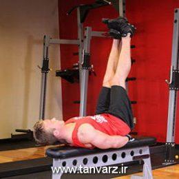 حرکت زیر شکم پا صاف روی نیمکت صاف Flat Bench Lying Leg Raise