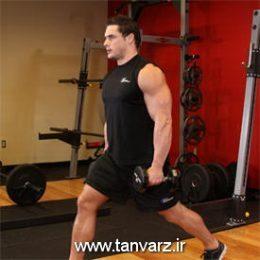 حرکت لانگز با دمبل (Dumbbell lunges)