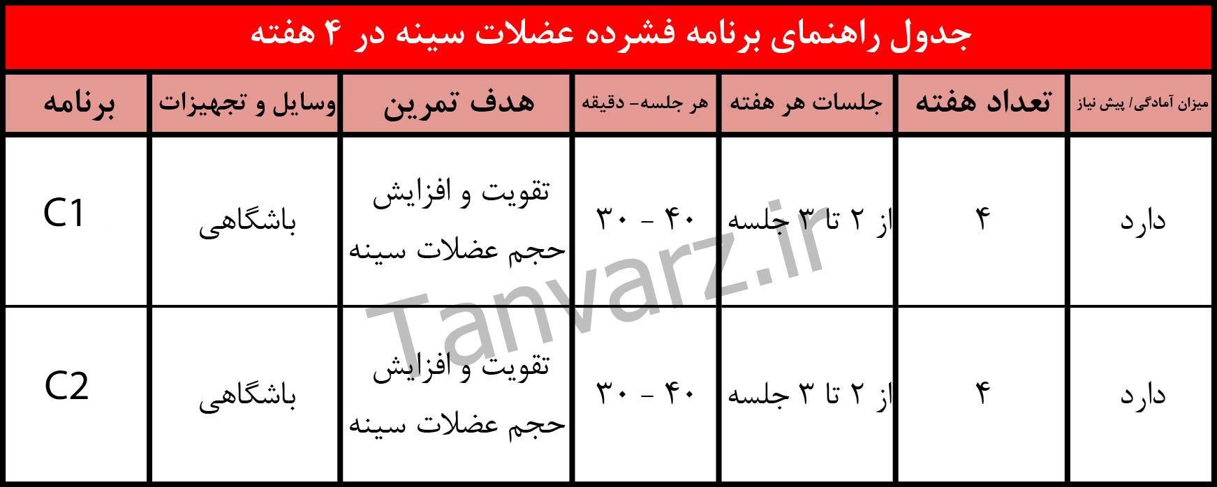 جدول کامل برنامه بدنسازی سینه