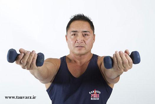 بالاتنه قوی با تمرینات سرشانه با دمبل